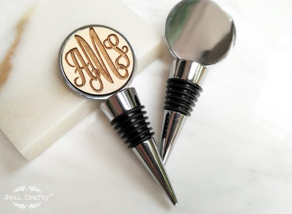 Curly Initial Round Silver Wine Bottle Stopper
