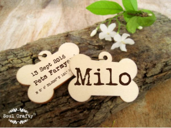 Dog bone pets party gift tag