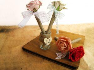 Rustic rose guestbook pens