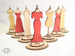 personalized red, cream, gold bridesmaid wedding dress